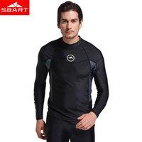 Sbart manica lunga da uomo Rash Guardie Costumi da bagno Camicie Lycra solare protettiva Muta Top Sub Snorkle Nuoto Surf Rashguard L