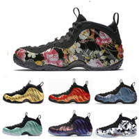 Mousse one Abalone Habanero Red Floral Hommes Chaussures de basketball Noir métallisé Or Alternatif Baskets de sport Uptempo