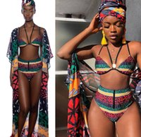 2019 African fashion Swimwear sexy print halter bikini with ...