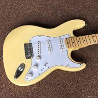 الحليب الأصفر ST الغيتار الكهربائي لوحة الماهوجني روزوود الأصابع الماهوغوني لوح الجانب الخلفي