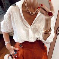 DICLOUD Seksi Moda Kadın Beyaz Bluz 2019 Uzun Kollu Plaj Tunik Şık Dot Gömlek Casual şifon Bluz Minimalist Kadın