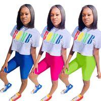 Женский дизайнерский комплект из 2 предметов Letter Print спортивный костюм спортивная одежда футболка шорты спортивный костюм футболка леггинсы наряды боди комплект