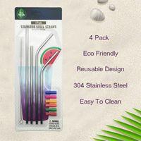 Droit Bend en acier inoxydable Straw Set avec brosse de nettoyage Conseils silicone réutilisables potable métal Straws Accueil Party Barre d'outils VT0670