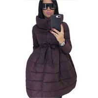 Cappotto invernale Gonna Donne Parka moda della vita di Bowknot medio lungo tempo di stand Collar cotone imbottito Jacket Warm Chaqueta Mujer Invierno