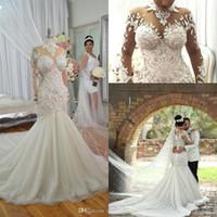 Dubai Arabisch 2019 Luxus Plus Größe Meerjungfrau Brautkleider Jewel Hals Perlen Kristalle Applikationen Hochzeitskleid Brautkleider Vestido de Novia
