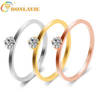 Fashion Couple Ring Simple Titanium Steel Woman Rings Zircon...