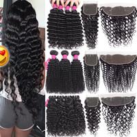 9A paquetes de cabello virgen brasileño con cierres de cierre de encaje 4x4 o lago de 13x4 Cierre frontal de encaje, onda profunda, paquetes de cabello humano, con cierre.