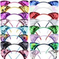 INS Mignon Glitter Paillettes Cat Ear hairband Filles réversible pailletée cheveux Fermoir Bandeau cheveux Hoop Kids Party Femmes Headress Favors D3401