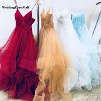 Sparkly Tüll Gold Prom Kleider 2021 Lange Spaghetti-Träger Rüschen Rüschen Burgund Abend Abendliches Kleid Weiße Partykleider