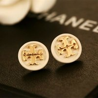 Retro Gold Letters Earrings Black White Enamel Round Ear Stu...
