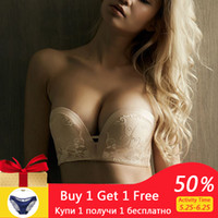 Lace Women Strapless Bra For Dress Wireless Super Push Up In...