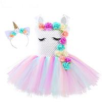 Vestito da tutu di unicorno per ragazze di fiori Vestito da festa di compleanno di arcobaleno pastello per ragazze pastello Costume per bambini Unicorno di Halloween per bambini 1-14Y