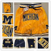 NCAA Hip Hop Hareket Rüzgar Michigan Şort Net Koleji Basketbol Şort Hafif nefes Spor Casual Cep Pantolon Wolverines Şort