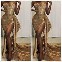 2020 Árabe ASO EBI Oro Barato Sexy Vestidos de noche Sweetheart High Split Dresses de fiesta con lentejuelas Formal Fiesta Segunda Recepción Vestidos