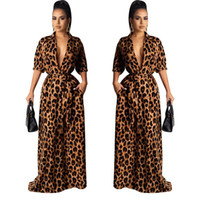 Maxi Dresses Autumn V Neck Half Sleeve Sexy Female Clothing Fashion Style Casual Apparel Womens Leopard Desinger
