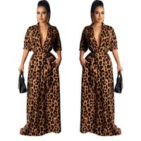Vestidos maxi otoño v cuello medio manga sexy ropa femenina moda estilo casual ropa para mujer leopardo desinger gansb