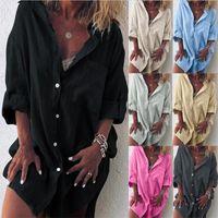 Moda Lino T Camicia a maniche lunghe Camicetta con Pocket Camice casuali Lapel Neck Cardigan signore di disegno camiciole Abbigliamento INS