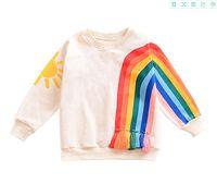 Kinder T-shirts Rainbow Quaste Tops Frühling Fall Kinder Kleidung für Boutique Euro Amerika Jungen Mädchen Lange Ärmel Sweatshirts All-Match