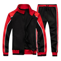 Men's Sportswear Casual Spring Tracksuit Men Two Pieces Sets Stand Collar Jackets Sweatshirt Pants Joggers Track Suit Running