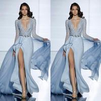 Nuevo See Through Sexy Zuhair Murad Vestidos de noche de sirena con mangas largas Vestido de fiesta formal Cristales Azul Vestidos de celebridades de alta división WLF1