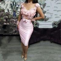Splendida 2020 rosa della sirena abiti da cocktail puro del collo del manicotto della protezione del fodero Appliqued mini bicchierino di promenade degli abiti di sera con cintura in raso