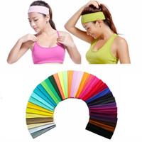 Мода Хлопок Stretch ободки 35 цветов Женщина йог диапазон волосы Причинного Человек софтбол Спорт Sweatband Эластичный головной убор LJJ_TA1417
