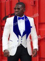 Groomsmen Um Botão Do Noivo Smoking Xale Azul Royal De Veludo Lapela Ternos Dos Homens de Casamento Melhor Homem Noivo (Jaqueta + Calça + colete + Gravata) L256