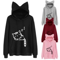 2pieces Mulheres Wholesale Cat Hoodies Luxury Designer Mulheres Hoodies Sweatershirt camisola solta Imprimir Cat animal Camisola encapuçado