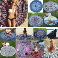 Mandala Telo rotonda Beach Blanket in poliestere stampato Tovaglia Bohemian Arazzo Yoga Mat Covers spiaggia dello scialle picnic Tappeto HH-C44