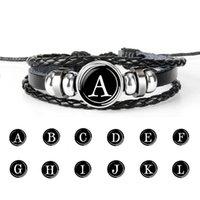 26 Carta inicial charme pulseiras botão de pressão para as mulheres homens de vidro cabochão alfabeto trançado cadeias de corda de couro diy moda jóias em massa