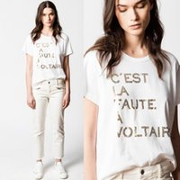 جودة عالية! صيف جديد مكانة الفرنسية ZADIG المرأة ممزق بحروف القطن المطبوع تي شيرت بأكمام قصيرة أبيض XS ~ L