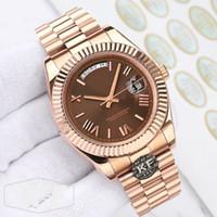 Rose Gold lusso di modo delle signore delle donne Mens Sapphire Designer meccanico Movimento automatico DayDate orologi della vigilanza Kfactory Orologi