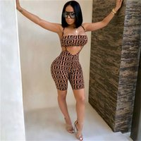 Digital Printing Strapless Jumpsuit Bra Shorts Set Women Und...