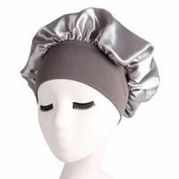 58cm cor sólida cor de cabelo longo cuidado mulheres cetim boné tampam noite chapéu chapéu de seda cabeça envoltora tampões de chuveiro