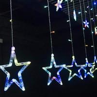 Cortina Luzes Cordas, 110V 220V corda Estrelas Luzes 8.2ft 12 estrelas 138 LED estrelado luzes de fadas para o casamento, Quarto, Natal, Festa, Xmas