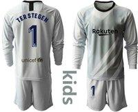 뜨거운 2019 2020 청소년 장시간 테르 stegen 골키퍼 유니폼 키트 키트 축구 세트 # 1 Ter Stegen Kid Boy Goalkeeper Jersey 어린이 유니폼 세트