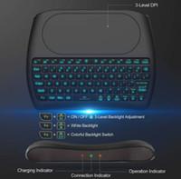 Hintergrundbeleuchtung D8 Pro i8 Englisch Russisch Spanisch 2,4 GHz Wireless-Mini-Tastatur-Luft-Maus Touchpad 7 Farbe Hintergrundbeleuchtung für Android TV BOX