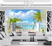 3d foto papel de parede personalizado murais de parede 3d papel de parede cênica à beira-mar árvore de coco céu azul nuvens brancas mediterrâneo varanda parede de fundo
