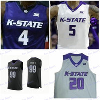 Personalizado Kansas State Wildcats Basketball Qualquer Nome Número branco preto roxo # 32 Dean Wade 5 Barry Brown Jr. Homens Juventude Kid Jerseys
