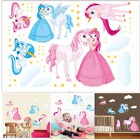 Unicornio mágico de dibujos animados pegatinas de pared del sitio del cabrito arte de la etiqueta del cuarto de niños dormitorio Vinilo Decoración unicornio princesa de la etiqueta engomada