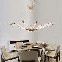 Современный светодиодный стеклянный трубчатая люстра золотая черная подвеска легкая домашняя гостиная, передача потолочной лампы PA0489