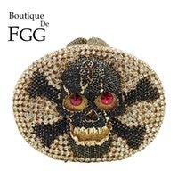 Boutique De FGG Halloween Femmes Crâne Sacs de soirée Forme Arrondis Cocktail Party Ladies strass embrayage et sacs à main