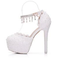 라운드 발가락 화이트 레이스 샌들 버클 스트랩 14cm 높은 뒤꿈치 신부 웨딩 신발 아름다운 술 플랫폼 들러리 신부 들러리 신발