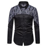 الأزهار طباعة الأسود سهرة قميص الذكور العلامة التجارية ضئيلة طويلة الأكمام قمصان رجالي قميص أوم حفل زفاف قميص للرجال YS008