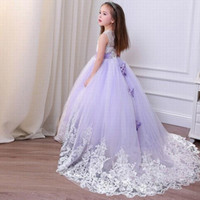 Lovely Girl Lace Tulle Flower Girl Abiti Ball Gown Bambini Pincess Pageant Wedding Damigella d'onore Bambini Dress GHYTZ261
