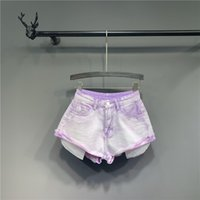 Jeans Shorts Purple Vintag Hight Taille Manschetten Sommer Frauen Casual DM001