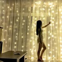 사용자 정의 LED 커튼 문자열 램프 로맨틱 크리스마스 웨딩 야외 실내 장식 커튼 문자열 등 미국 표준 따뜻한 화이트 110V