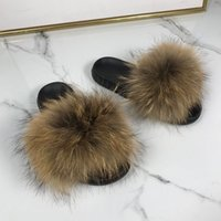 real racoon fur Slippers Women Home Fluffy Slidersfur flip f...