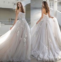 Boho Gelinlik 2020 Sweetheart Tül Dantel Aplikler A-Line Prenses Gelinlikler Sweep Tren Bohemya Gelinlikleri vestido de novia