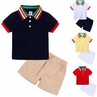 Niño ropa de niño Conjunto bebé de rayas de cuello camisas pantalones cortos sólidos 2pcs fijan diseñador de trajes de verano para niños Ropa para Niños DW5290